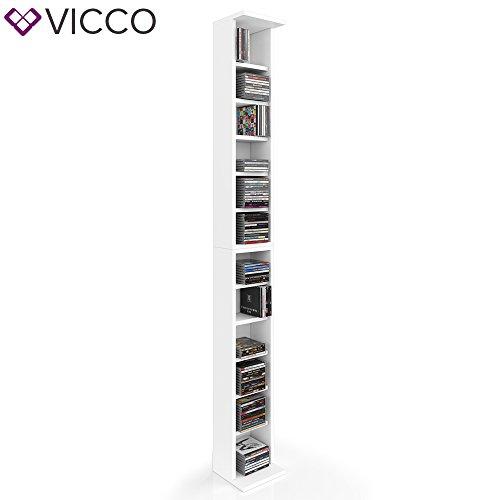 VICCO CD Regal DVD Ständer Rack Wandregal Hängeregal Bücherregal Büroregal Bücherregal Farbauswahl (2er, Weiß)