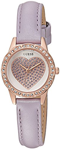 GUESS Women's U0731L5 Petite Rose Gold-Tone Watch with White Dial , Crystal-Accented Bezel and Genuine Leather Buckle