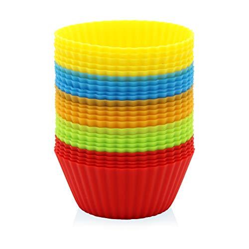 GOURMEO® 25 Muffinförmchen in 5 Farben, wiederverwendbar, hochwertiges Silikon, umweltschonend - Cupcakeförmchen, Backförmchen, Cupcake Muffinform Silikon Cupcake