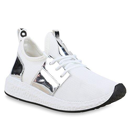 Damen Sportschuhe Runners Lack Metallic Laufschuhe Sneakers Weiss Silber