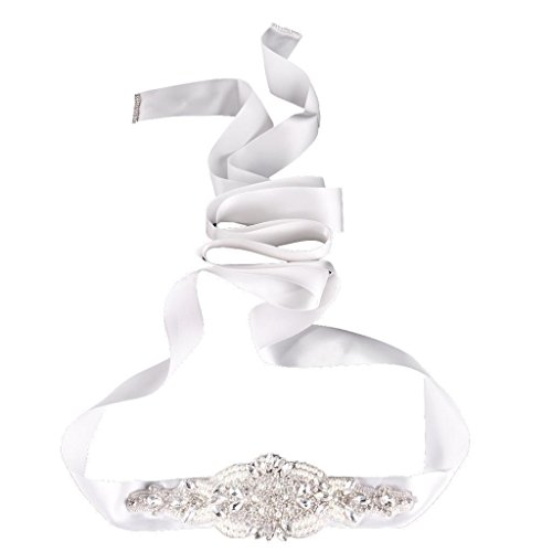 Electroprime® Handmade Bride Accessory Crystal Ribbons Sash Wedding Porm Dress Waist Belt