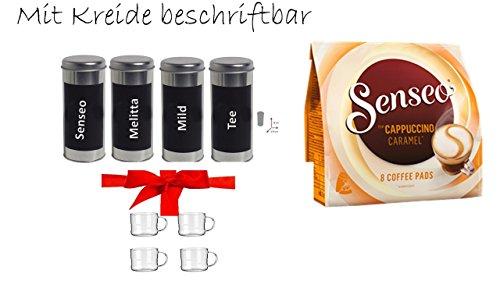 Geschenkset Muttertag Kaffeepaddose 18 Pads - beschriftbar mit Kreide das 4er Set + 1 Packung Senseo...