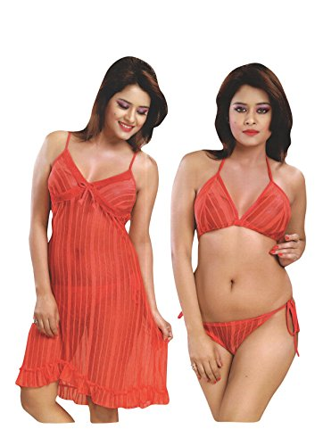 Indiatrendzs Womens Lingerie For Sex Transparent Red Night Dress Pack Of 3