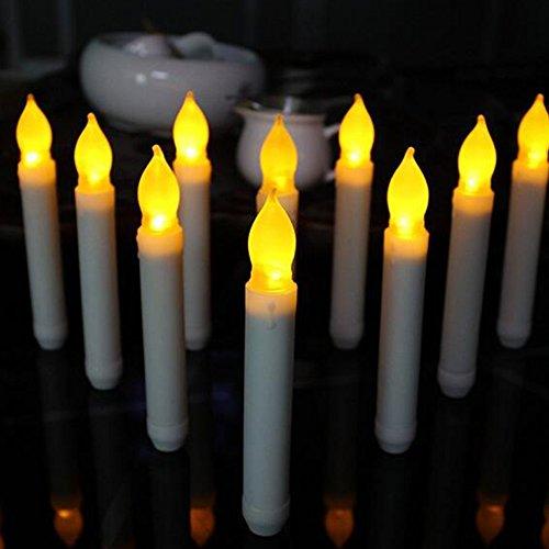 Stabkerzen, Warmweiß Flamme Flicker Kerzen Batteriebetriebene Romantische Flammenlos Wachskerzen Kerzenlichter Tafelkerzen Leuchter Für Weihnachten, Party, Hochzeit, Fest Deko ()
