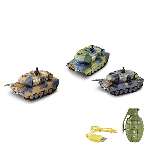 German Leopard 2A6 - RC mini ferngesteuerter Panzer mit Schusssimulation Sound, Beleuchtung, 1:77 Modell-Maßstab, Komplett-Set inkl. Fernsteuerung