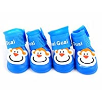 Doggie Style Store Blue Monkey Character Dog Pet Cat Wellies Wellington Boots Waterproof Rain Shoes