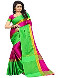 High Glitz Fashion Women's Green & Pink Color Cotton Sari With Blouse Piece