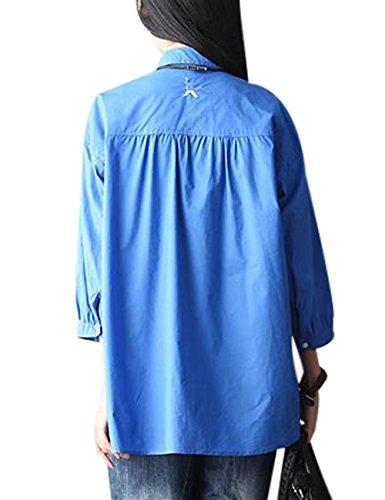 Youlee Femmes Manche longue Brodé Blouses courtes Bleu