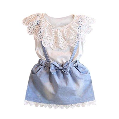 Babybekleidung,Resplend Kinder Baby Mädchen Outfits Sommer Ärmellos Bekleidungssets Denim Phantasie Blumen Tutu Kleider Spitze Wellenkante Bowknot Party Prinzessin Hosenträger Röcke (Weiß, 5-6Y)