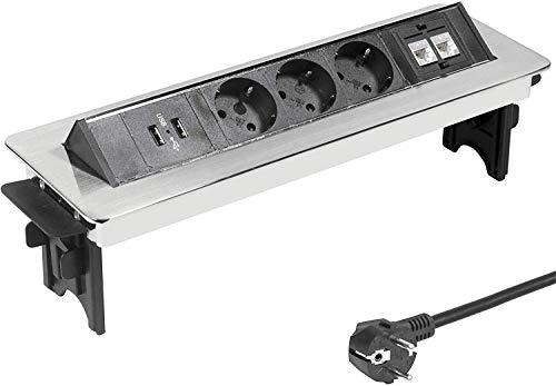 Elbe Prise encastrable plan de travail en acier inox 3 Prises 2 USB 2 RJ45 Norme allemande Bloc prise escamotable Prise pour plan de travail Multiprise escamotable pour Cuisine Bureau_EL4703URM