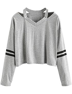 K-youth® Camisas Para Mujer, Mujer Manga Larga Sudadera Camiseta Cuello EN V Blusa Tops Jersey Corta 2018 Baratas