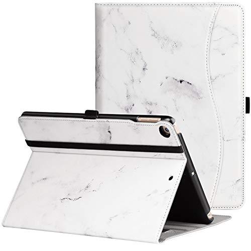 Ztotop Hülle für iPad 9.7 2018/2017, Premium Kunstleder Leichte Schutzhülle Case Cover für iPad 9,7 Zoll ipad 5/6,mit Auto Schlaf/Wach Funktion und Steckplatz A1822 A1823 A1954 A1893,Weiß Marmor