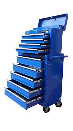 Rollen Schubladen Auf Werkzeugkasten Mit (131US Pro Tools blaue Mechaniker-Werkzeugbox auf Rollen, Werkzeugschrank, 9Schubladen mit Kugellager-Gleitern.)