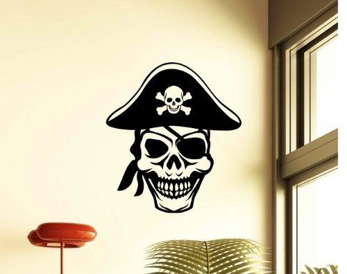 Wandtattoo XXL Schädel Totenkopf Pirat See Räuber Hut Skull Tür Aufkleber 5O124, Farbe:Rot Matt;Hohe:20cm