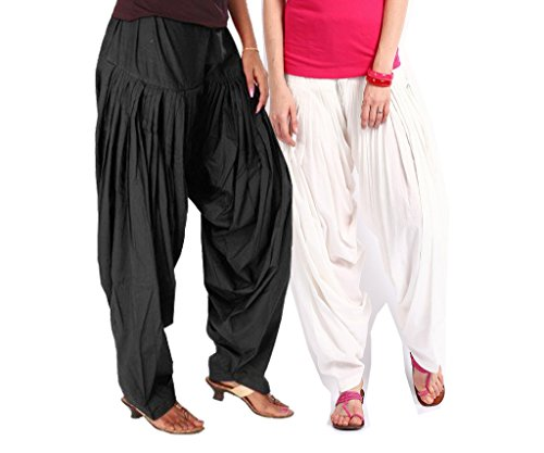 Luvcare 100% Pure Cotton Patiala Salwar For Womens(Black And White)