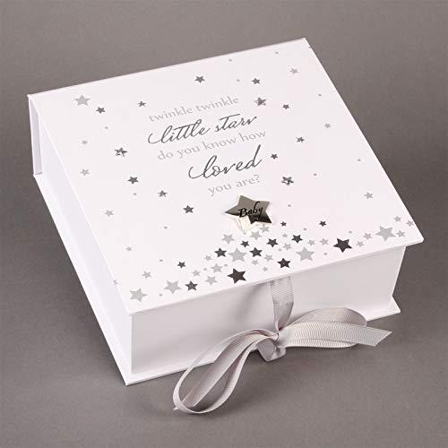 Schachtel für Baby-Andenken mit Aufschrift Twinkle Twinkle Little Star mit Baby-Zeichen und Geschenktüte