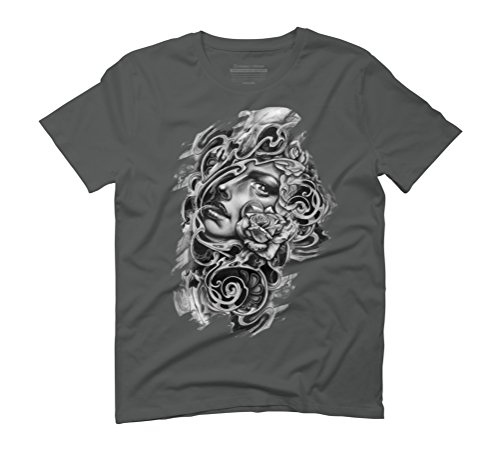 girl, roses, skulls. Men's Graphic T-Shirt - Design By Humans Anthracite