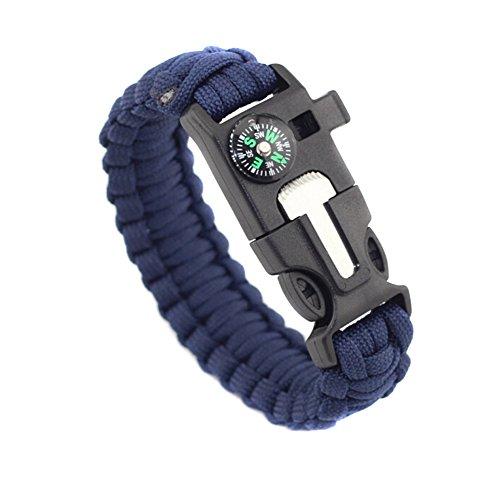 TININNA 3 Pcs 5 in 1 Multifunktionales Paracord Armband Notfall Überleben Armband mit Kompass, Feuer Starter, Notfall Messer & Pfeife (Tarnung) (Feuer-starter-überlebens -)