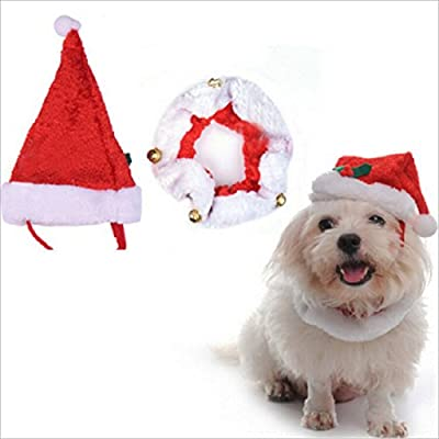 Fandecie Christmas Decoration Pet Hat and Collar Festival Dress up Clothes For Dogs and Cats