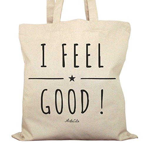 Tote Bag Imprimé Ecru - Toile en coton bio - I feel Good !
