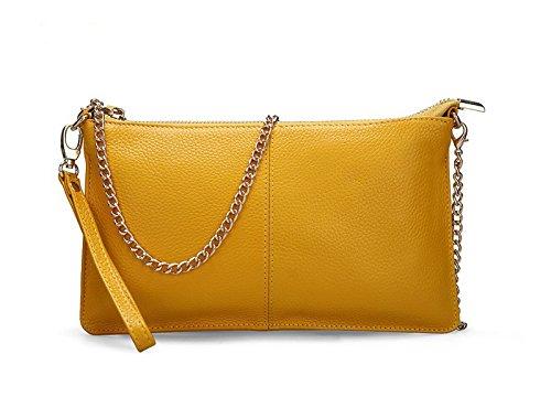 Leder Handtasche Echtleder Clutch Mode Damen Abendtasche Partytasche Handschlaufe Handgelenktasche mit 3 Seitenfächern Schultertasche Umhängtasche Ledertasche Unterarmtasche Damentasche
