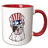 Queen54ferna Patriotische Amerikanische Hunde - Französische Bulldogge mit Top-Hut mit amerikanischer Flagge - 325 ml, zweifarbig rot