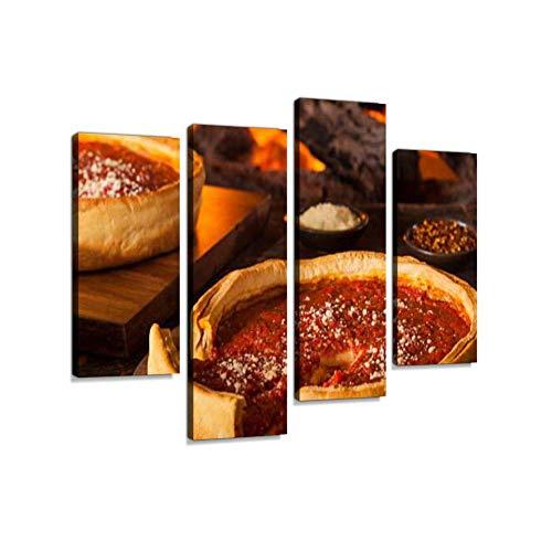 LIS HOME Chicago Style Deep Dish Käse Pizza Leinwand Wandkunst hängen Gemälde Moderne Kunstwerke abstrakte Bild Drucke Dekoration Geschenk einzigartig gestaltet gerahmt 4 Panel Chicago Style Pizza