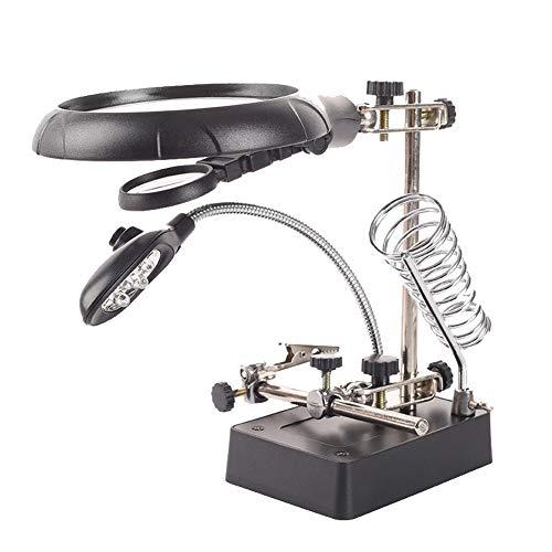 Dritte Hand Mit Lupe,5 Led Lampe,löthilfe Lötstation, Löthilfe Tischlupe Mit 2.5 X/7.5 X/10x Lupe, Multifunktionales Reparaturwerkzeug Mit Lötkolbenhalter Und Krokodilklemmen,für Reparat,löten -