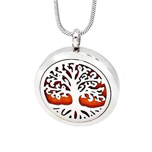 Aromatherapie ätherisches Öl Halskette Diffusor Stammbaum des Lebens Halskette Anhänger Aromatherapie Medaillon 49 Refill Pads einstellbare Kette Halskette