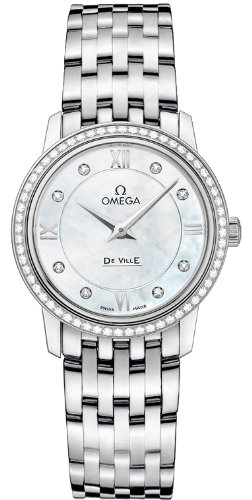 OMEGA Women's De Ville Diamond 27.4mm Steel Bracelet & Case Swiss Quartz Analog Watch 424.15.27.60.55.001