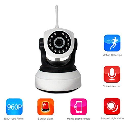 WLAN IP Kamera 960P Panorama Kamera,Netzwerk P2P WIFI IP Kamera Zwei-Wege-Stimme Video-Wiedergabe Smart Connection Einstellungen WiFi Unterstützung TF-Speicherkarte Unterstützung für Apple und Andrews Smartphone