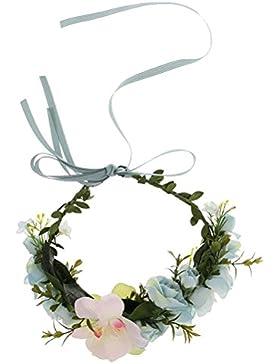 Pixnor Tocado de vestido de flor diadema guirnalda corona Festival boda pelo corona diadema novia sombrero azul