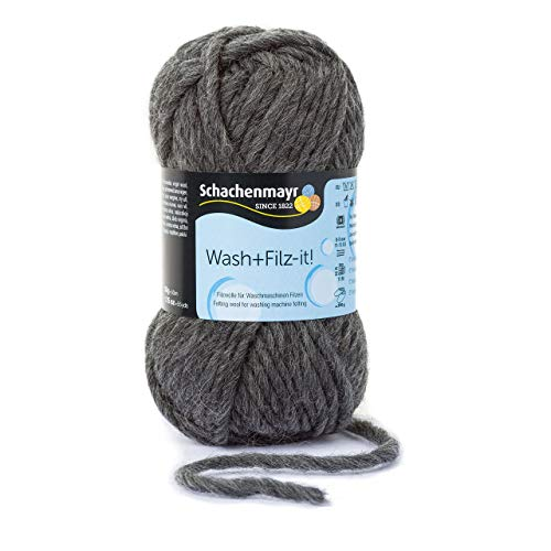 Schachenmayr Wash+Filz-it! 9812942-00020 charcoal Handstrickgarn, Filzgarn, Schurwolle (Filzen-maschinen-nadeln)