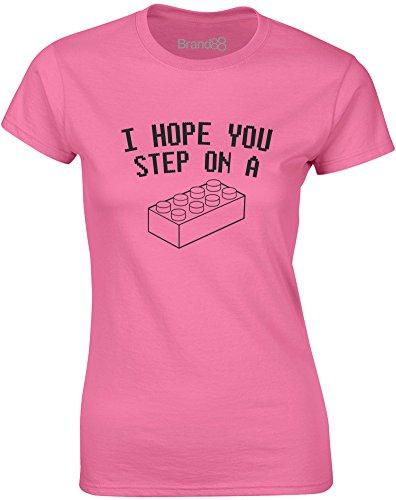 Brand88 - I Hope You Step On..., Mesdames T-shirt imprimé Azalée/Noir