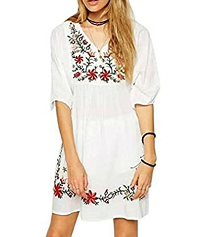 White Mexican Embroidered Vintage V Neck Womens Dress Tops Shirt Blouses (White)