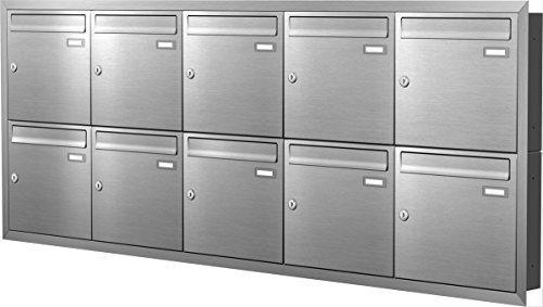 Max Knobloch Unterputz-Briefkastenanlage Express Box UP100-110-E Edelstahl (10 x 12 Liter)