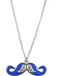 Ammvi Creations Alloy Mustache Blue Pendant For Women