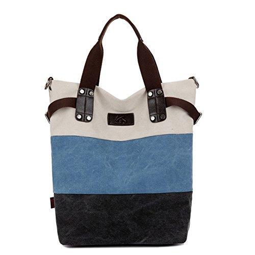 GSPStyle Damen Canvas Schultertasche Tragbar Umhängetaschen Hobo Handtasche Shopper Blau