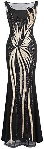 Angel-fashions Damen Schier Gold Pailletten Schwarz Splei?en Abendkleid Small