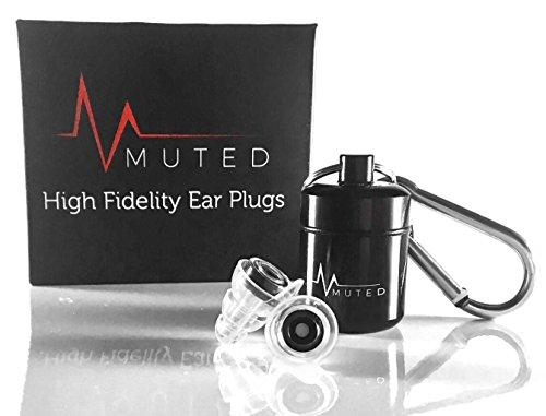 MUTED Geräuschreduzierung Ohrstöpsel aus weichem Silikon, bewahrt die Klangqualität, bester Gehörschutz für Konzerte, Musiker, DJ, Trommeln, Schlafen, Schnarchen, mit Tragetasche