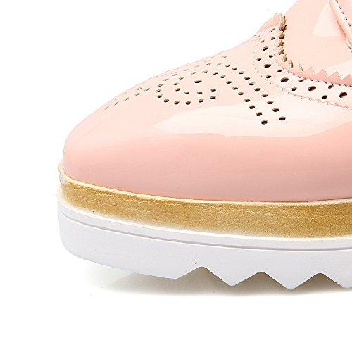 AgooLar Femme Tire à Talon Correct Verni Couleur Unie Rond Chaussures Légeres Rose