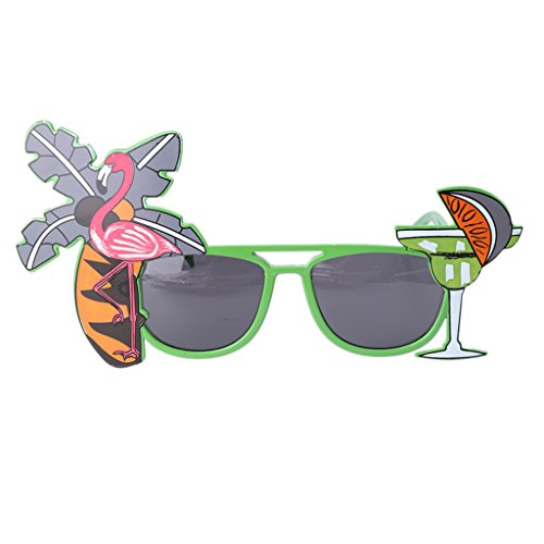 CADANIA Flamingo Cocktail Hawaiian Sunglasses Fancy Dress Tropische Strandparty-Brille Grün