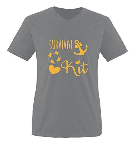Comedy Shirts - Survival kit Anker - Herren V-Neck T-Shirt - Dunkelgrau / Gelb Gr. XXL