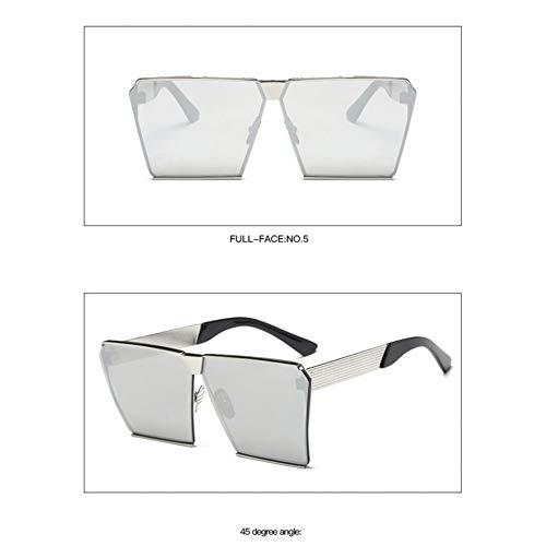 Taiyangcheng Platz Hip Hop Mode Sonnenbrillen Männer Frauen Spiegel Sonnenbrille Dame Flache Übergroße Größe Brillen,Silber