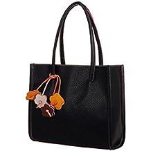 Tongshi Moda bolsos chicas elegantes de cuero bolso de color caramelo florece totalizador de las mujeres (Negro)