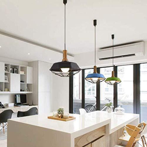 W-LI Deckenleuchte Pendent Lampe Industrial Style mit Käfig und Holz Akzent Orange für Restaurant Esszimmer Hall Cafe Loft Küche - Orange-akzent-lampe