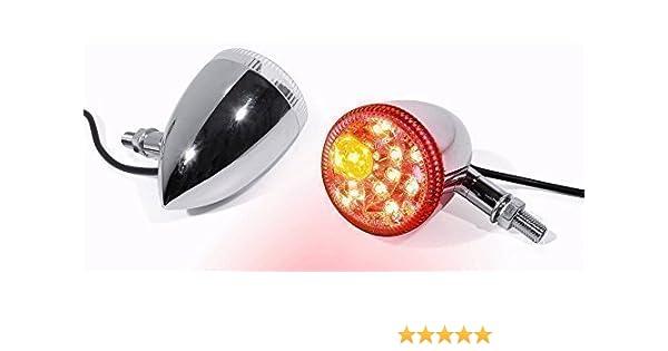 LED R/ücklicht Bremslicht Blinker chrom Motorrad universal Custom f/ür Harley-Davidson Motorrad