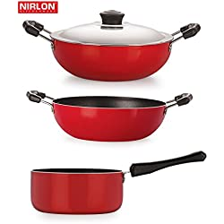 "Special Cooking Pots and Pans Non-Stick Cookware Set 3-Pieces Kadai 2 Liter , Deep Kadai With Lid Big 2.6 Liter , Sauce Pan Big 1.8 Liter only Gas Cooktop Compatible ""Premier Quality"""