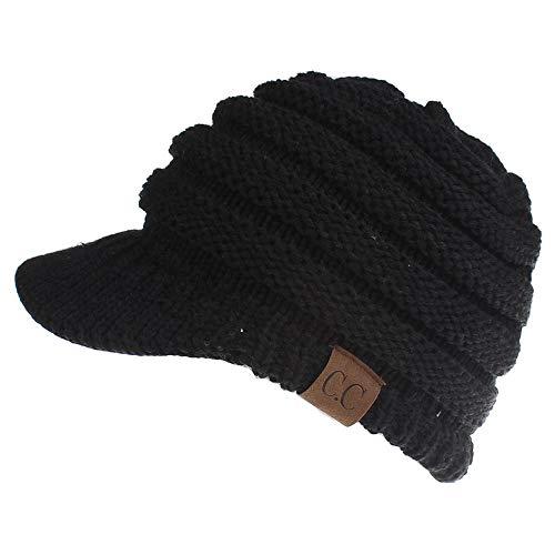 SEANEX Women's Warm Chunky Cable Knit Messy Bun Hat Ponytail Visor Beanie Cap Chunky Knit Visor Beanie
