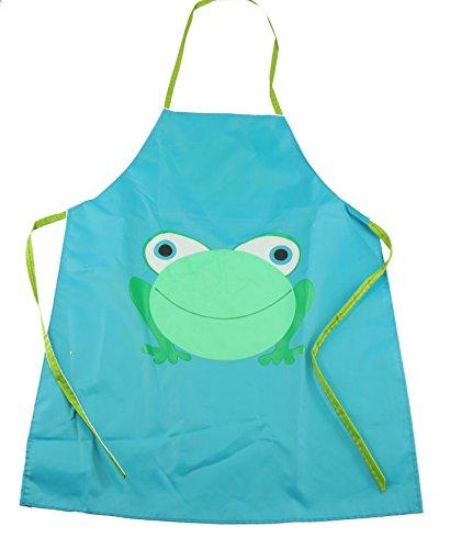Super Cute Frog einfach sauber Wipable PVC Kochen Malerei Schürze Kittel Geschenkidee für Jungen Mädchen Blau (Kittel Für Malerei)